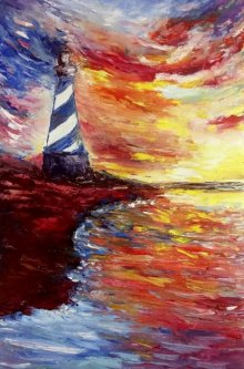 Seascape Oil Art Painting title Lighthouse by artist Kiran Bableshwar