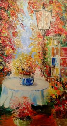 Impressionist Oil Art Painting title 'My Garden Edition2' by artist Kiran Bableshwar