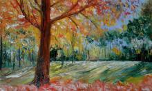 Impressionist Oil Art Painting title 'Park Tree In Bloom' by artist Kiran Bableshwar