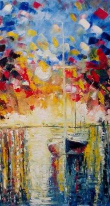 Impressionist Oil Art Painting title 'Pier Regalia10x18' by artist Kiran Bableshwar