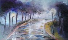 Impressionist Oil Art Painting title 'Silent Street' by artist Kiran Bableshwar