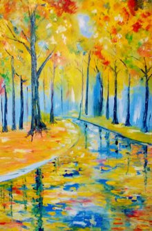 Kiran Bableshwar Paintings | Oil Painting - Summer Woods20x13 by artist Kiran Bableshwar | ArtZolo.com