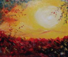 Impressionist Oil Art Painting title 'Sunrise On New Year' by artist Kiran Bableshwar
