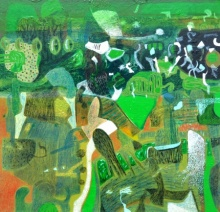 Abstract Mixed-media Art Painting title 'Sawan' by artist Neeraj Yadava