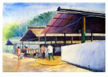 Figurative Watercolor Art Painting title 'Plain air' by artist Biki Das