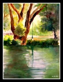Nature Watercolor Art Painting title 'Plain Air' by artist Biki Das