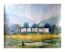 Biki Das | Watercolor Painting title Landscape on Paper