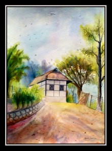 Landscape Watercolor Art Painting title 'One of house hill Area' by artist Biki Das