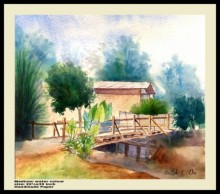 Biki Das | Watercolor Painting title One a wood bridge very ricsy on Handmade Paper | Artist Biki Das Gallery | ArtZolo.com
