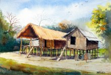 Biki Das | Watercolor Painting title Miching Tradition House 3 on Paper | Artist Biki Das Gallery | ArtZolo.com