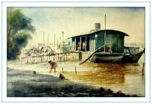 Landscape Watercolor Art Painting title Vintage ship at river side by artist Biki Das