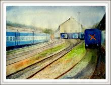 Biki Das | Watercolor Painting title Railway station on Paper | Artist Biki Das Gallery | ArtZolo.com
