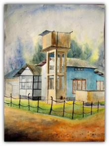 Cityscape Watercolor Art Painting title Plain air by artist Biki Das