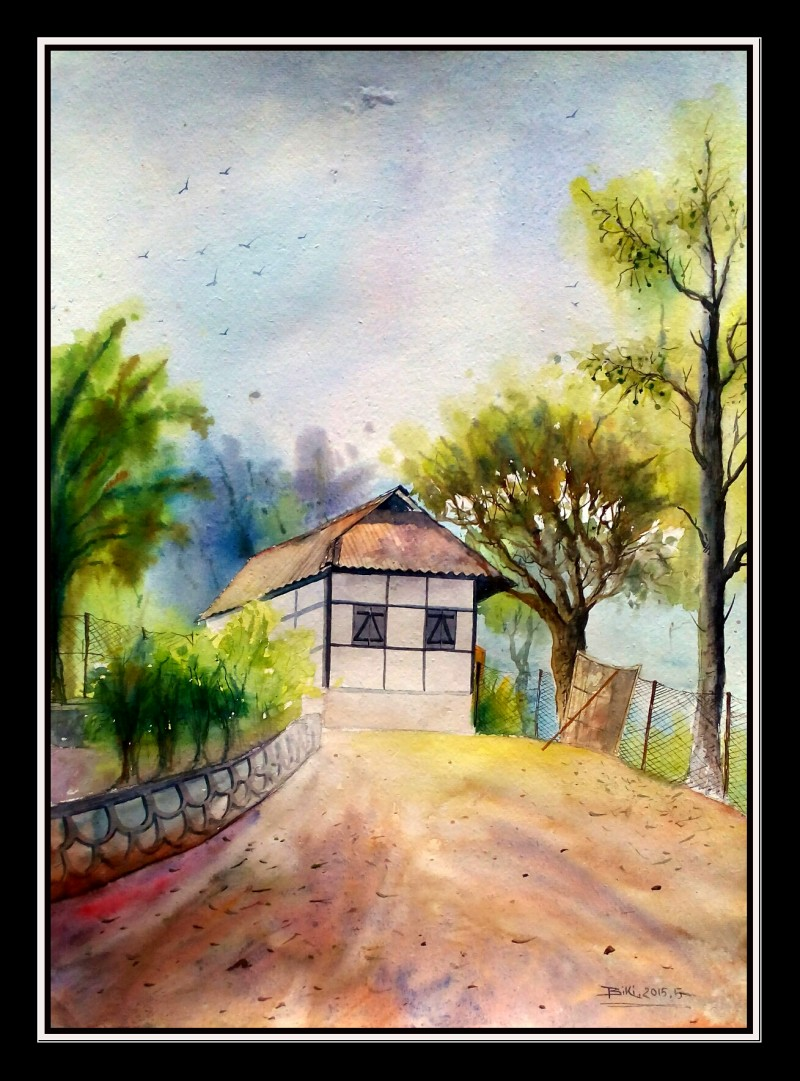 One of house hill area painting by artist biki das watercolor
