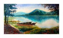 Biki Das Paintings | Watercolor Painting - A moment of Deepor Bill of Assam by artist Biki Das | ArtZolo.com