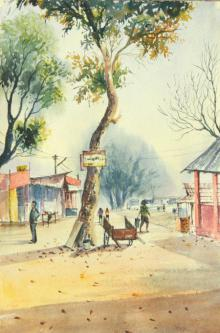 Biki Das | Watercolor Painting title Water colour On the spot at ASSAM on Paper | Artist Biki Das Gallery | ArtZolo.com