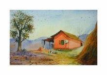 Landscape Watercolor Art Painting title 'Outdoor' by artist Biki Das