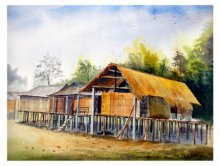 Biki Das | Watercolor Painting title Miching Tradition House 1 on Paper | Artist Biki Das Gallery | ArtZolo.com