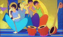 Figurative Acrylic Art Painting title 'The Music Party' by artist Dnyaneshwar Bembade