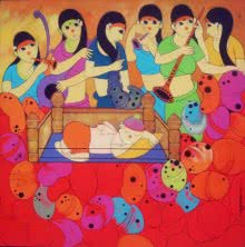 Musical Welcome | Painting by artist Dnyaneshwar Bembade | acrylic | Canvas