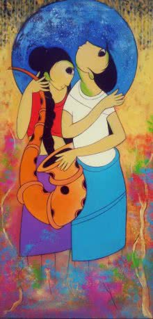 Figurative Acrylic Art Painting title 'Musical Love' by artist Dnyaneshwar Bembade