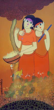 Figurative Acrylic Art Painting title 'Best Friends' by artist Dnyaneshwar Bembade