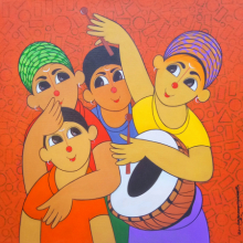 Figurative Acrylic Art Painting title 'MUSIC 2' by artist Dnyaneshwar Bembade