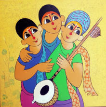 Figurative Acrylic Art Painting title 'Musical envoirment' by artist Dnyaneshwar Bembade