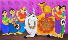 Figurative Acrylic Art Painting title Bull festivel by artist Dnyaneshwar Bembade