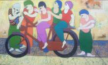 Cycling | Painting by artist Dnyaneshwar Bembade | acrylic | Canvas