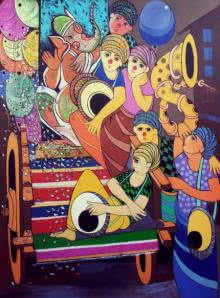 Dnyaneshwar Bembade | Acrylic Painting title Ganesh Festival on Canvas | Artist Dnyaneshwar Bembade Gallery | ArtZolo.com