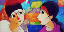 Anime Acrylic Art Painting title Gossip by artist Dnyaneshwar Bembade