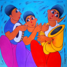 Figurative Acrylic Art Painting title 'MUSICAL FRIENDS' by artist Dnyaneshwar Bembade