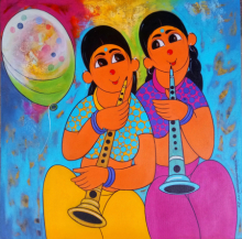 Figurative Acrylic Art Painting title 'MUSICAL CELEBRATION' by artist Dnyaneshwar Bembade