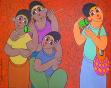 Figurative Acrylic Art Painting title 'CHILDHOOD FUN' by artist Dnyaneshwar Bembade