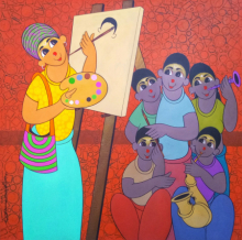 Figurative Acrylic Art Painting title 'ARTIST DEMO' by artist Dnyaneshwar Bembade