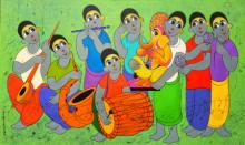 contemporary Acrylic Art Painting title Ganesha arrivel by artist Dnyaneshwar Bembade