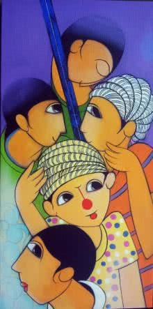 Musical Friends | Painting by artist Dnyaneshwar Bembade | acrylic | Canvas