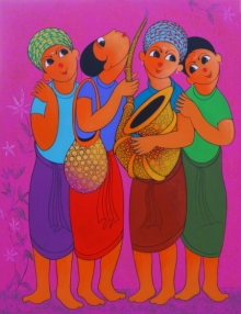 Figurative Acrylic Art Painting title 'Musical Soulmate' by artist Dnyaneshwar Bembade