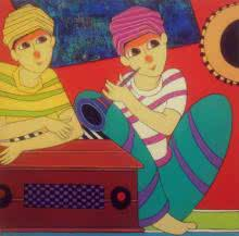 Anime Acrylic Art Painting title 'Musician' by artist Dnyaneshwar Bembade