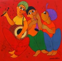 Dnyaneshwar Bembade | Acrylic Painting title Tune Maker 1 on Canvas | Artist Dnyaneshwar Bembade Gallery | ArtZolo.com