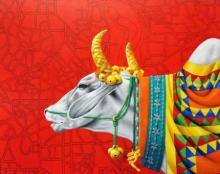 Photorealistic Acrylic Art Painting title 'KAMADHENU III' by artist Rohit Sharma