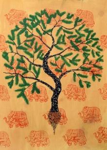 Sumit Mehndiratta | Acrylic Painting title Jaya Vriksh on paper | Artist Sumit Mehndiratta Gallery | ArtZolo.com