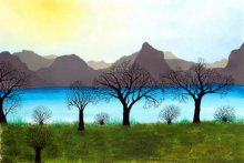 Landscape Acrylic Art Painting title 'Besides the calm waters' by artist Sumit Mehndiratta