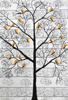 Nature Acrylic Art Painting title 'Parvar' by artist Sumit Mehndiratta