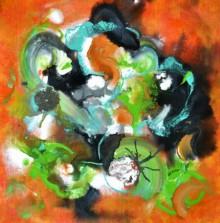 Abstract Acrylic Art Painting title 'Pop Fluid No 1' by artist Sumit Mehndiratta