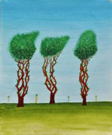 Nature Acrylic Art Painting title 'Trees Of Jasoon' by artist Sumit Mehndiratta