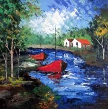 Cityscape Acrylic Art Painting title Blue Water by artist Ganesh Panda