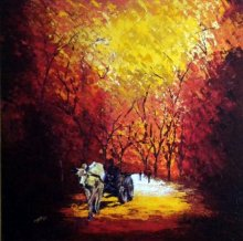 Nature Acrylic Art Painting title 'Bullock Cart' by artist Ganesh Panda