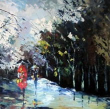 Cityscape Oil Art Painting title 'Monsoon Walk' by artist Ganesh Panda